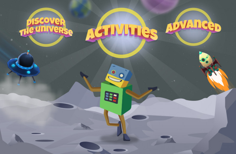 Cartoon image showing the environment and objectives of the Discover the Universe activity.