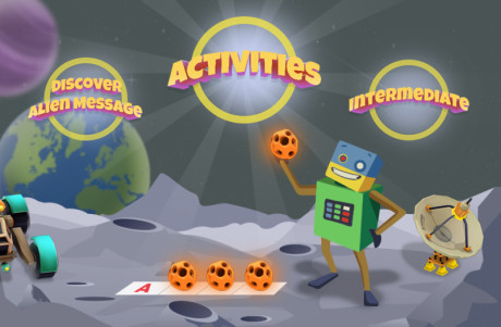 Cartoon image showing the environment and objectives of the Discover an Alien Message activity.